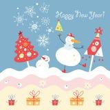 Muñecos de nieve y árboles de navidad divertidos Fotografía de archivo
