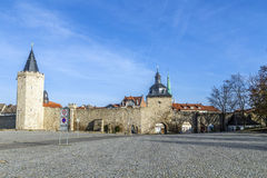 Muehlhausen, inner woman gate at. Muehlhausen, view to inner woman gate at historic town wall with raven tower Royalty Free Stock Photography