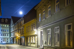 Muehlhausen by night with view. Road in Muehlhausen by night with view to old city gate Stock Images