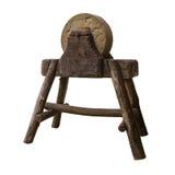 Muela circular en soporte de madera serio Mismo herramienta del trabajo del vintage Imagen de archivo libre de regalías