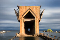 Muelle abandonado del mineral en el lago Superior - Marquette Michigan Fotografía de archivo