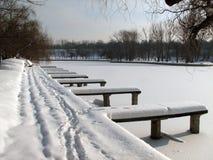Muelle abandonado invierno fotografía de archivo