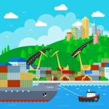 Muelle comercial en diseño plano del estilo Ilustración del vector Libre Illustration