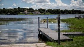 Muelle de Crescent Lake Clermont Florida Boat Fotografía de archivo