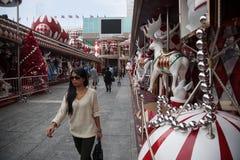 Muelle de la decoración antes de la Navidad en Hong Kong Foto de archivo libre de regalías