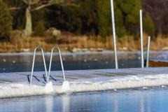 Muelle de la natación en invierno Imágenes de archivo libres de regalías