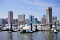 Muelle de la nave en el puerto interno de Baltimore Imagenes de archivo
