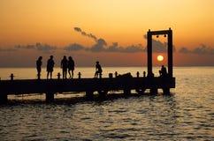 Muelle de la puesta del sol Imagenes de archivo