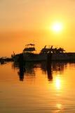 Muelle de la puesta del sol Fotos de archivo