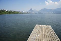 Muelle de Lagoa Rio de Janeiro Brazil Scenic Skyline Foto de archivo libre de regalías