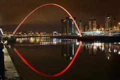 Muelle de Newcastle en la noche Foto de archivo