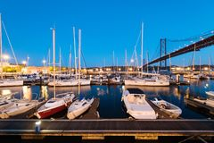Muelle de Santo Amaro Recreation en Lisboa, Portugal Imagenes de archivo