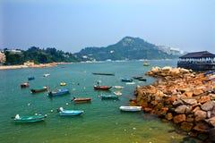 Muelle de transbordador del embarcadero del puerto de Stanley de los barcos Hong-Kong Foto de archivo