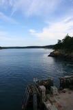 Muelle de transbordador en la isla de las orcas Fotografía de archivo libre de regalías