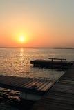 Muelle del amanecer Fotografía de archivo