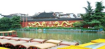 Muelle del barco de río de Nanjing Qinhuai Fotografía de archivo libre de regalías