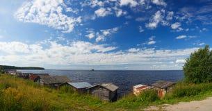 Muelle del barco en el lago Onega Fotografía de archivo libre de regalías