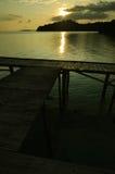 Muelle del barco en puesta del sol Fotografía de archivo