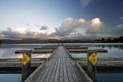 Muelle del lago devil's en la puesta del sol Imagen de archivo