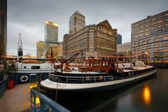 Muelle del norte en Canary Wharf, Londres Foto de archivo libre de regalías