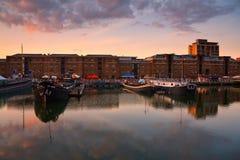 Muelle del norte en Canary Wharf, Londres Foto de archivo
