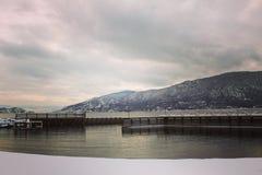 Muelle del paisaje del invierno Imagen de archivo