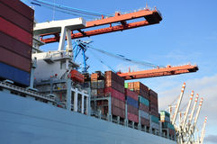 Muelle del puerto de Hamburgo y terminal del contenedor para mercancías, Alemania Fotos de archivo libres de regalías