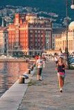Muelle del puerto de Trieste en Italia septentrional Fotos de archivo libres de regalías