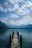 Muelle el lago Lemán del barco Imagen de archivo