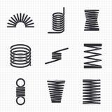 Muelle en espirales espiral flexible del alambre de acero stock de ilustración