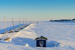 Muelle fijado en hielo Imágenes de archivo libres de regalías