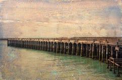 Muelle histórico de la acémila, Oamaru Imagen texturizada Grunge fotografía de archivo