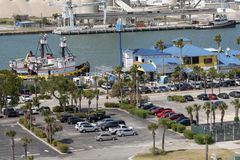 Muelle portuario de Canaveral una descripción La Florida los E.E.U.U. foto de archivo