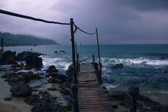 Muelle. Ruins dock in Venezuelan coasts stock photos