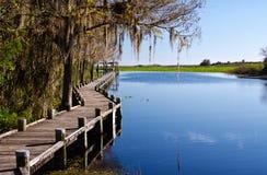 Muelle viejo en un lago de agua dulce, la Florida fotos de archivo