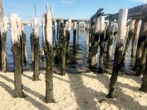 Muelle viejo, paisaje marino, playa y mar foto de archivo
