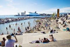 Muelle y playa en Oslo Fotos de archivo