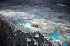 Mueller glacjalna rzeka, Mt. Kucbarski park narodowy, Nowa Zelandia Zdjęcia Stock