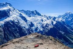 Mueller Hut from Mount Olivier Royalty Free Stock Image