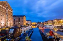 Muelles de Gloucester en la oscuridad fotos de archivo libres de regalías