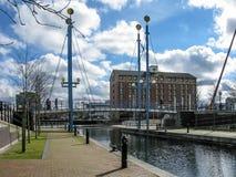 Muelles de Salford del canal, Manchester Imagen de archivo libre de regalías