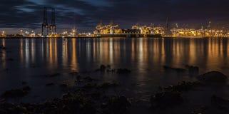 Muelles en la puesta del sol Imagen de archivo