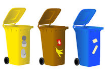 Muelltonne. Garbage bins for sorting waste for environmentally conscious people Stock Photography