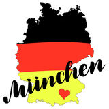 Muenchen. Munich hand drawn lettering. Vector lettering illustration isolated on white. Template for Traditional German Royalty Free Stock Photography