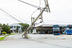 MUENG, PHUKET/THAILAND AUG 2015: Traffic turbulence caused by electricity pole damage on street due to heavy rain disaster on AUG1 Royalty Free Stock Image