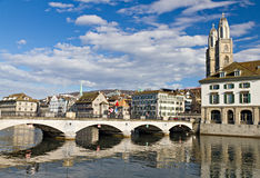 Muenster bridge crossing Limmat Royalty Free Stock Images
