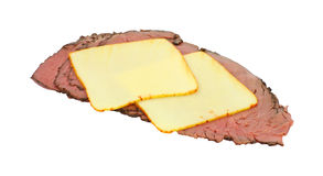 Muenster cheese on roast beef slices Stock Photo