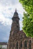 Muenster i Freiburg, Tyskland Arkivfoto