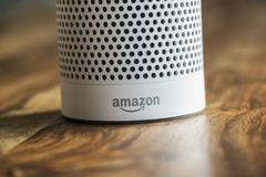 Amazon Echo Plus, the voice recognition streaming device from Am stock images