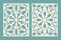 Muera y el laser cortó los paneles adornados con el modelo de los copos de nieve El laser que corta el cordón decorativo confina  libre illustration